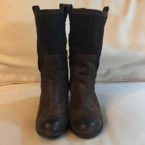 Ugg brown leather boots calf high